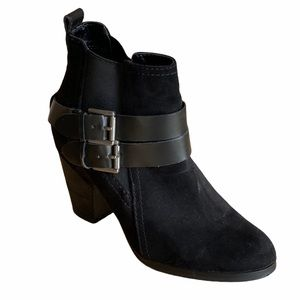 Crown Vintage Black Buckle Heeled Ankle Boots